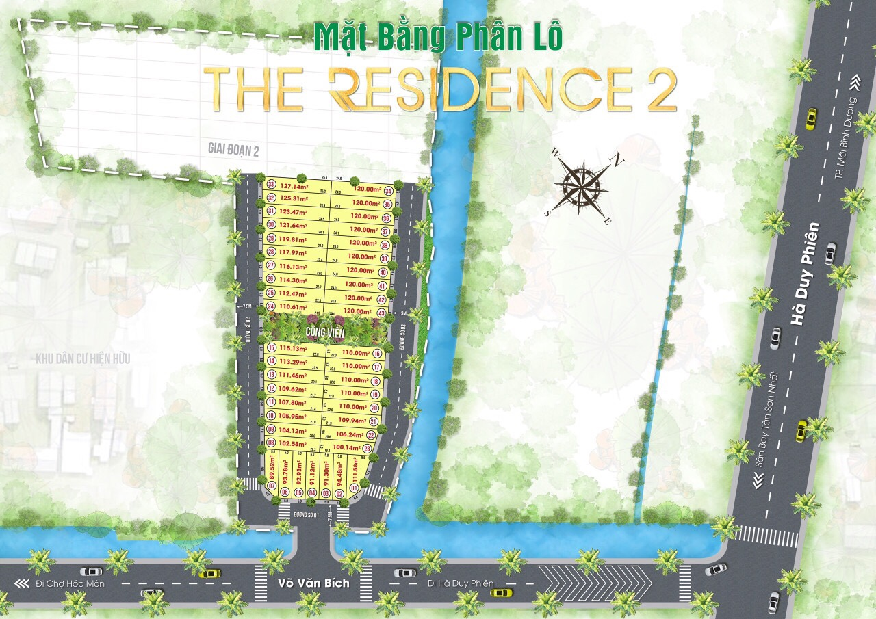 Mặt bằng phân lô dự án the residence 2 - Đất Củ Chi - The  Res 2